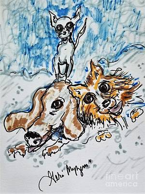Dogs In Snow Mixed Media