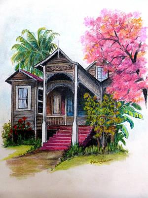 Wooden House Poui Tree Art