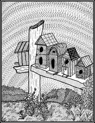 Rural Community Mixed Media Original Artwork