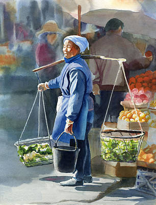 Chinese Market Watercolor Prints