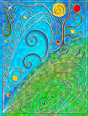 Turquoise Stained Glass Drawings Prints