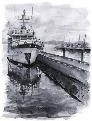 Ships Watercolor Paintings