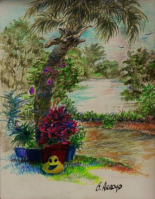 Garden Scene Drawings Original Artwork