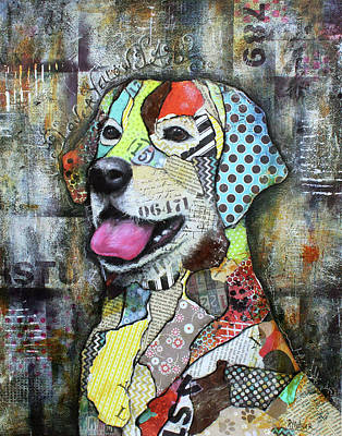 Yellow Lab Mixed Media Prints