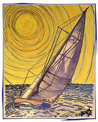 Sailboats In Harbor Mixed Media Prints