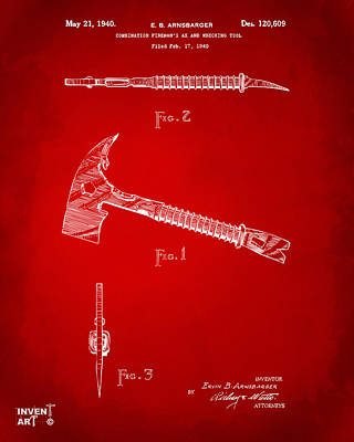Designs Similar to 1940 Firemans Axe Artwork Red