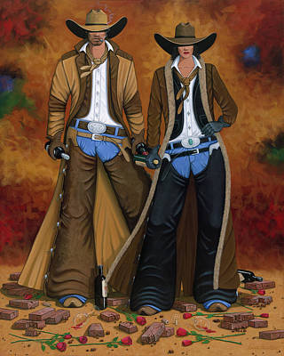 Cowgirl And Cowboy Original Artwork