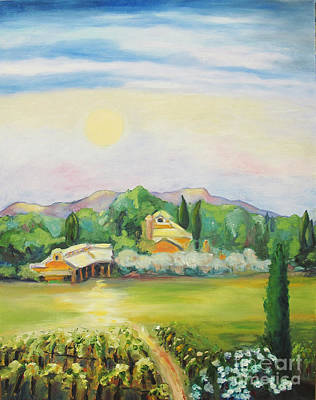 Moon Over Vineyard Prints