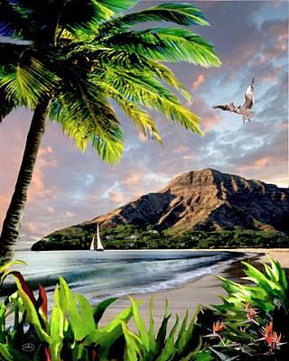Seascape With A Palm Tree Prints