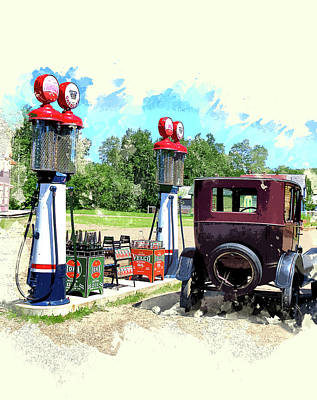 Gas Pumps 1950s Paintings