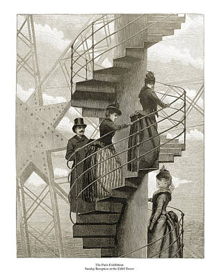 Drawing - Sunday Reception at the Eiffel Tower by London Illustrated News