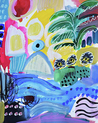 Painting - Abstract tropical landscape by Amara Dacer