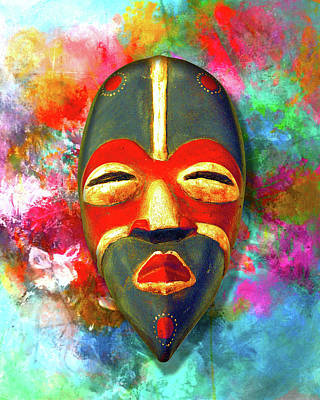 African Mask Mixed Media