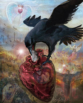 Digital Art - Raven, Stone, and Heart by Brenda Ferrimani