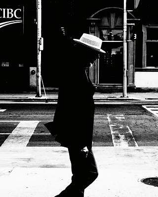 Photograph - Oldman in downtown Toronto streets - A BnW cafe wall art print by Farzad Frames