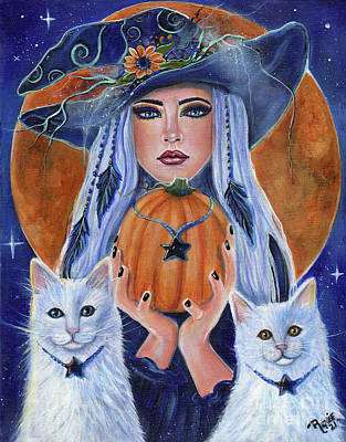 Painting - Pumpkin time witch by Renee Lavoie