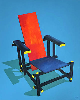 Painting - Red and Blue Chair by Grus Lindgren