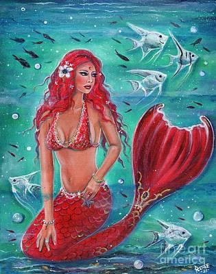 Painting - Vivian Red Mermaid by Renee Lavoie