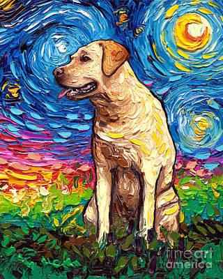 Painting - Yellow Labrador Night 2 Portrait by Aja Trier