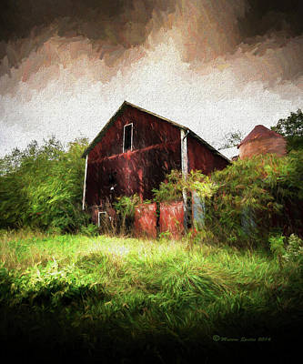 Red Roofed Barn Mixed Media Prints