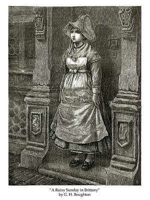 Drawing - A Rainy Sunday in Brittany by London Illustrated News