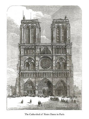 Drawing - Notre Dame by London Illustrated News