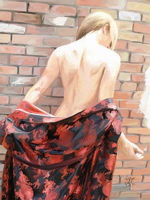 Digital Art - Woman figure with a Robe by Nik English