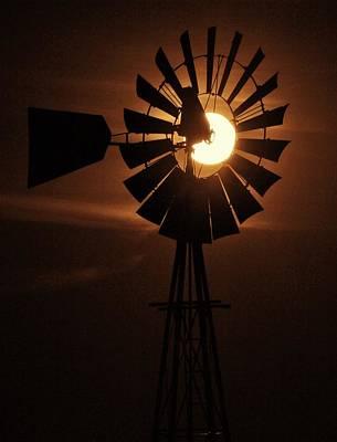 Photograph - 2016 Super Moon Thru Windmill in Kansas by Greg Rud