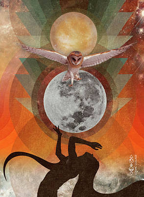 Digital Art - Owl Spirit Full Moon by Lori Menna