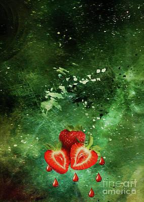 Digital Art - Strawberries on green by Roberto Giobbi