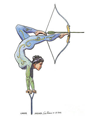 Drawing - Circus Archer by Eric Haines