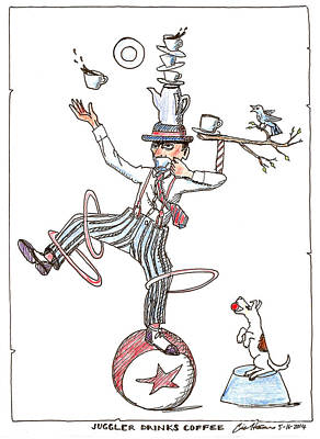 Drawing - Juggler Drinks Coffee by Eric Haines