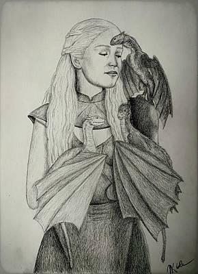 Drawing - Daenerys Targaryen, Mother of Dragons by Vanessa Cole