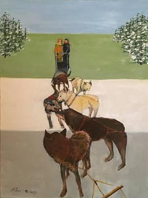 Painting - Deg Sledding in Alaska by Bonnie Wilber