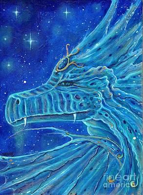 Painting - Etoirir blue dragon by Renee Lavoie