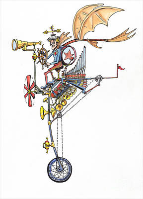 Drawing - Flying Unicycle Band by Eric Haines
