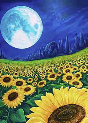 Digital Art - Moon Over Sunflowers by Brenda Ferrimani