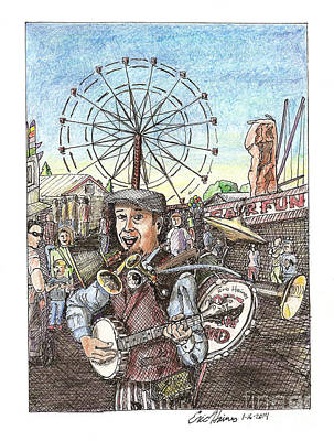 Drawing - One Man Band at the Fair by Eric Haines