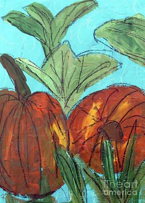 Mixed Media - Two Pumpkins by Janyce Boynton