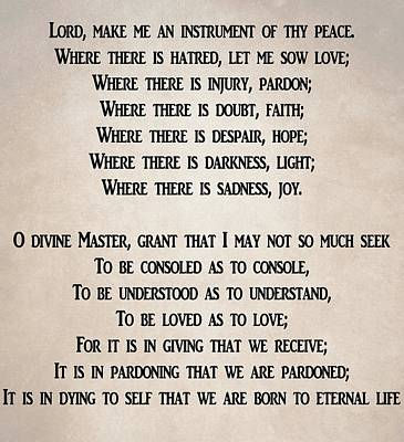 Lord Make Me An Instrument Of Your Peace Prints