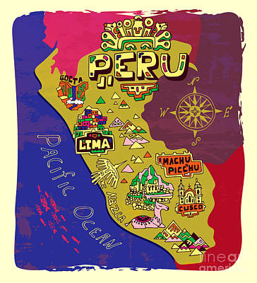 Designs Similar to Illustrated Map Of Peru. Travel