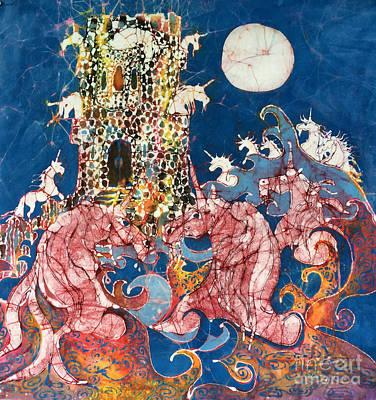 Tapestry - Textile - Unicorns Take Castle by Carol Law Conklin