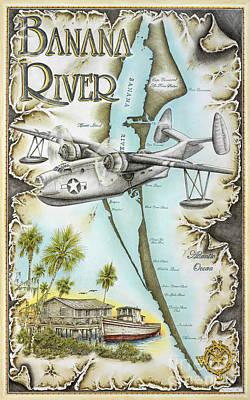Vintage Map Drawings Original Artwork