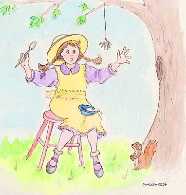 Miss Muffet Spider Squirrel Porridge Drawings Prints