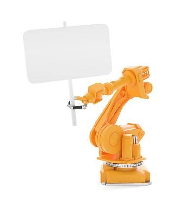 Designs Similar to Robot Holding Blank Banner