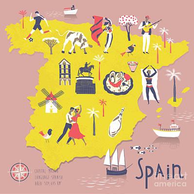 Football Map Of Spain.Spanish Football Art Fine Art America