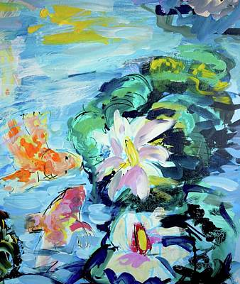 Painting - Koi fish and water lilies by Amara Dacer