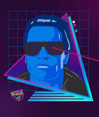 Digital Art - Synthwave Terminator  by Joseph Burke