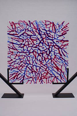 Fused Glass Red Blue Cranberry Royal Net Network Capillaries Stand Art