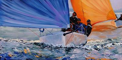 Blue Sailboats Original Artwork